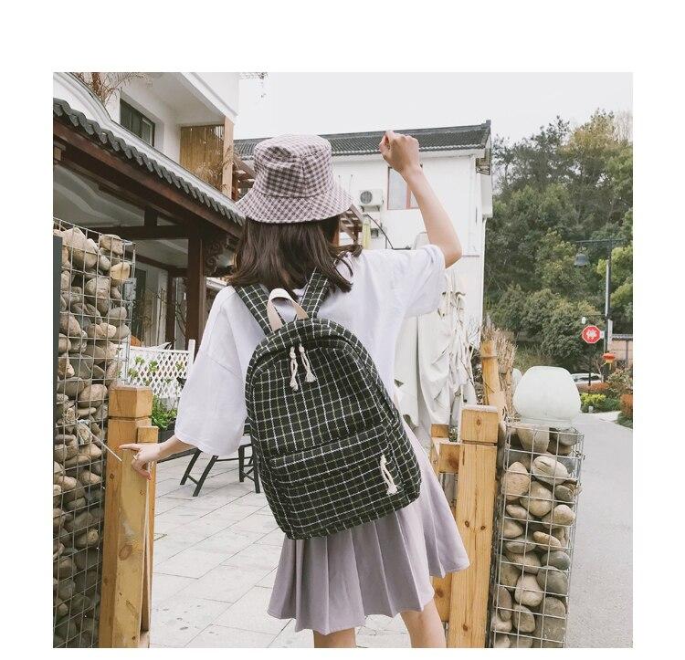 HTB1dE.Va8Kw3KVjSZTEq6AuRpXa7 2 Pieces Japan style Plaid Style Women Backpack Pencil Case Student Girl School Bag Travel Shoulder Bag For Women 2019 Bagpack