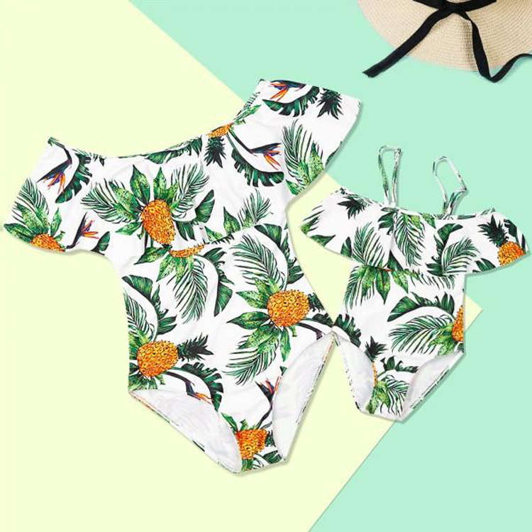 Beach Mommy And Me Swimsuits Family Look Pineapples Mother Daughter Matching Swimwear Mom Mum And Baby Girl Bathing Suit Clothes