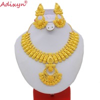 Adixyn Unique lUXURY African Necklace and Earrings Wedding Jewelry set Gold Color & COPPER Arab Dubai Party/Wedding Gifts N08097