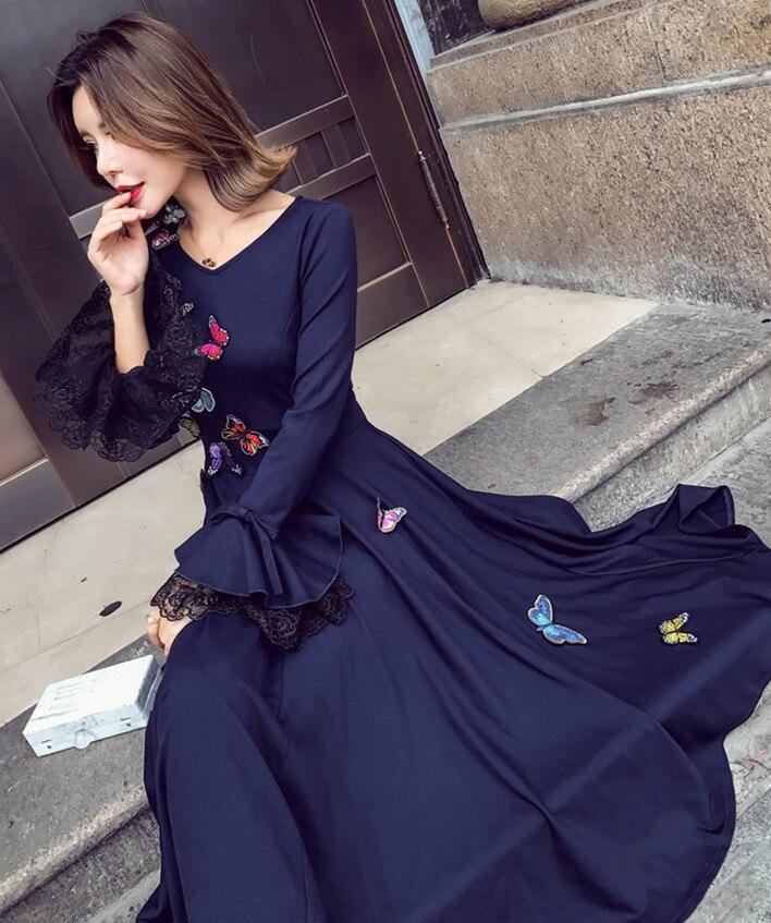 Manuel Robes Midi Vintage Taille Plissée Marine up Manches Automne Broderie Bleu Robe Femme Lotus Dentelle Papillon 2019 KcF1Jl