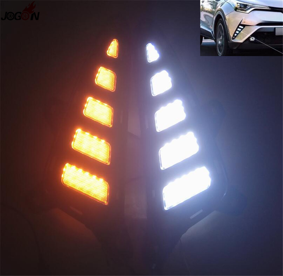 DRL день дневного света для Toyota с-HR 16-17 Белый светодиод желтый сигнал Передние противотуманные фары