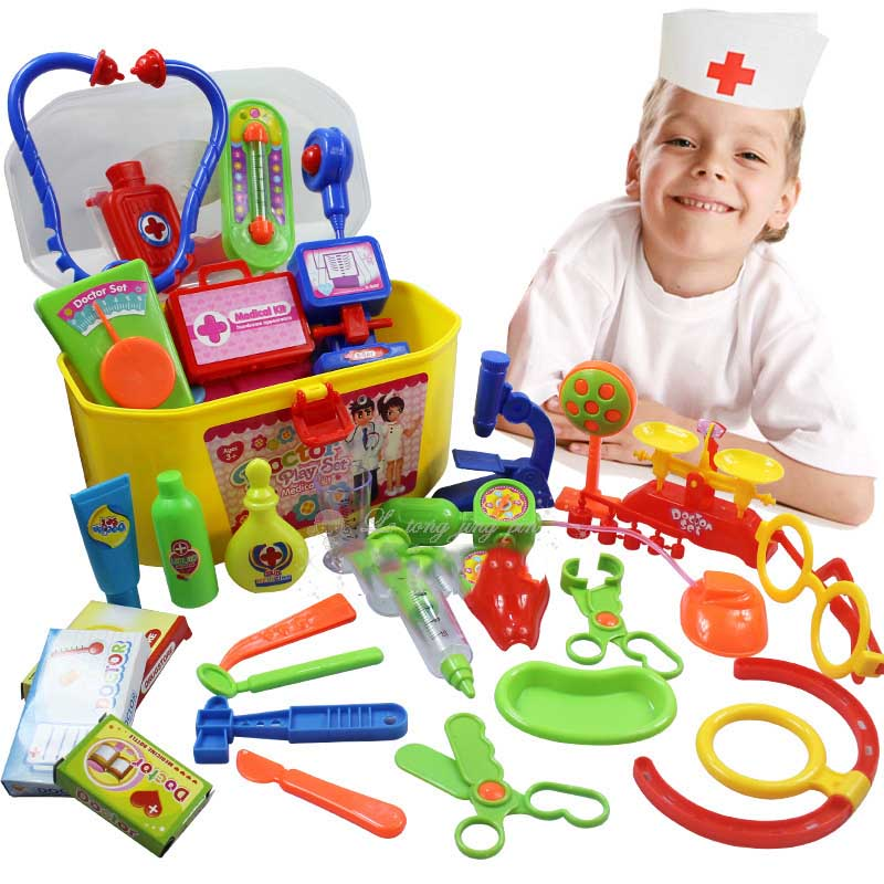 30 PCS/Set Creative Doctor Medical Play Set Pretend Carry Case Medicine Box Children Education Role Playing Toys TF0011 image