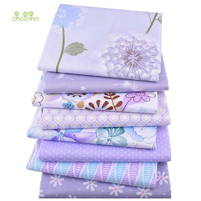 8pcs/lot, Chainho Twill Cotton Fabric Purple Floral Patchwork Cloth For DIY Quilting Sewing Baby&Children Sheets Dress Material