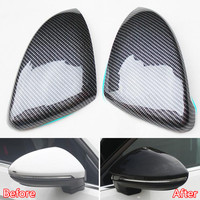 YAQUICKA 2Pcs Carbon Fiber Style Car Exterior Side Rear View Mirror Cover Trim Styling Fit For