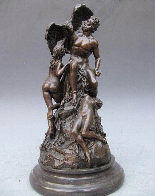 USPS aux USA S0966 14 ouest Mythologie Grecque Prométhée Enchaîné Nude Cuivre Bronze Statue (B0413)
