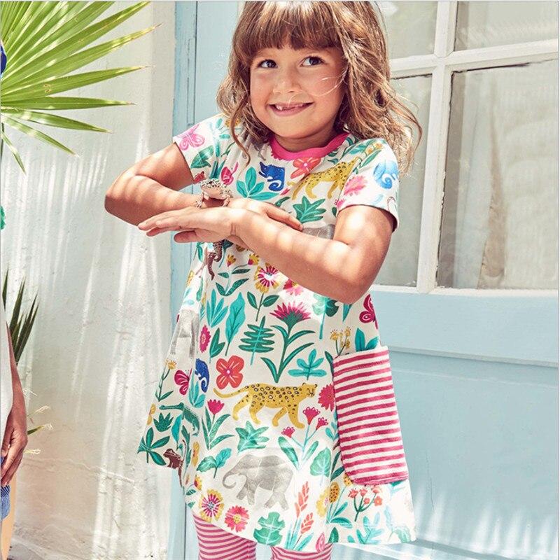 Girls font b baby b font dresses cotton clothing short sleeve fashion summer new arrivel pockets