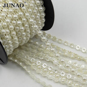 Image 4 - JUNAO 6mm White Pearl Beads Chain Bridal Applique Trim Half Round Pearls String Strass Crystal Band For Wedding Party Decoration