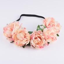 CXADDITIONS Fabric Peony Wildflower headband Headwrap Elegant Flower crown Romantic Bridesmaid Floral crown Boho Rustic wedding