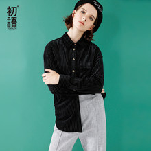 Toyouth 2019 Autumn Velvet Shirts Solid Long Sleeve Women Striped Tops And Blouses Single-Breasted All-Match Black White Blusas(China)