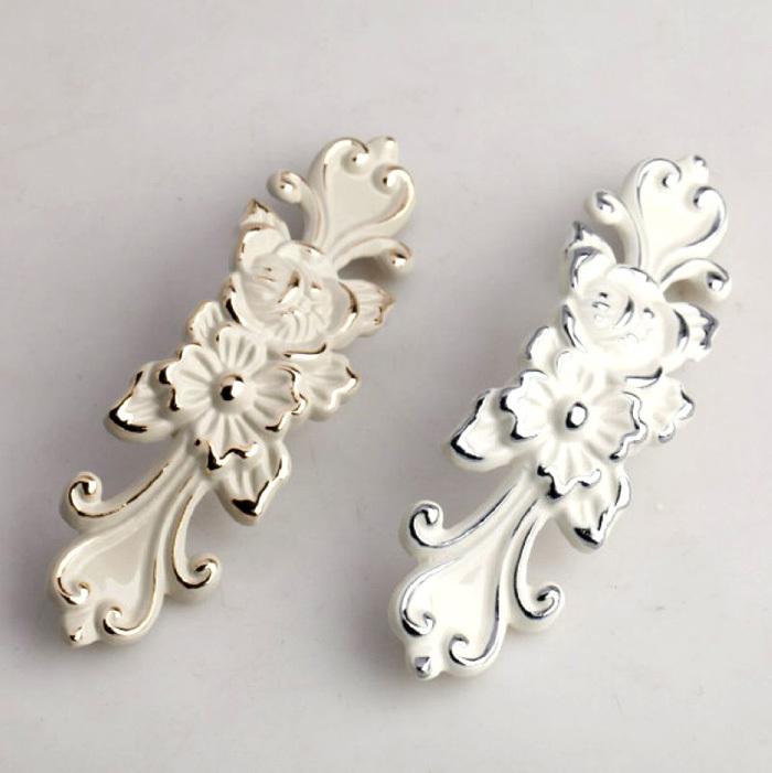 European style Ivory white Cabinet Wardrobe Handles Knobs dresser Drawer kitchen Cupboard door Handles Pulls 96mm furniture handles wardrobe door pulls dresser drawer handles kitchen cupboard handle cabinet knobs and handles 64mm 96mm 128mm