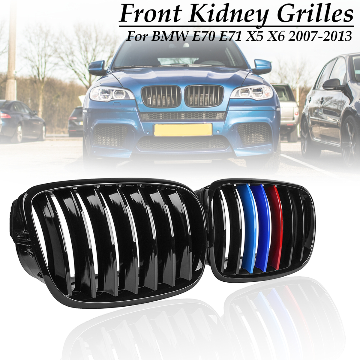 Slat Front Kidney Grill Grilles for Gloss Black M-Color for BMW E70 E71 X5 X6 2007 2008 2009 2010 2011 2012 2013 1pair matte black double slat kidney grille front grill for bmw e70 e71 model x5 x6 suv m sport xdrive 2008 2012 car styling