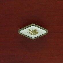 diamond shape ceramic furniture knobs bronze drawer shoe cabinet pull knob 16mm antique brass dresser cupbord door handles