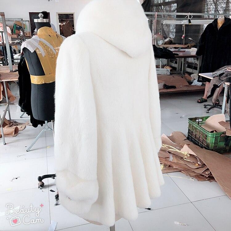 Nouvelles Vison Femmes Fourrure Vague En 2018 Avec Level Manteau De Hiver Capuchon Long À Velvet fA1WndqnR