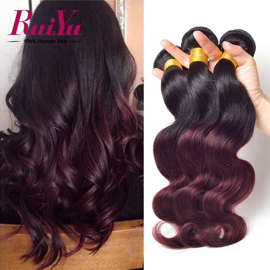 Malaysian Virgin Hair Ombre Human Hair 3 Bundles T1B/Burgundy 99j Ombre Malaysian Body Wave Virgin Ombre Human Hair Extensions