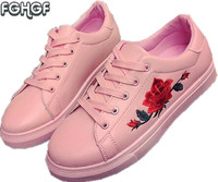 Women Embroidery Shoes Woman Moccasins Cute White Casual Lolita Shoes Espadrilles Zapatillas Mujer Tufli Tenis Feminino