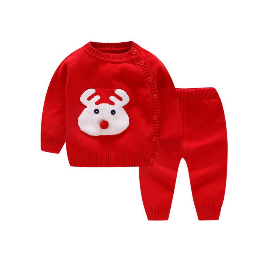 Baby Girls Clothing Set Spring Autumn Thin Reindeer Pattern Sweater Suit Newborn Infant Boy Buttons Sweaters 9 24Months