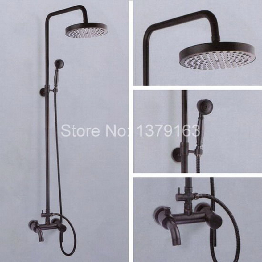 Oil Rubbed Bronze Wall Mounted Single Handles Bathroom Rain Shower Faucet Set + Handheld Shower and Tub Mixer Tap ahg037