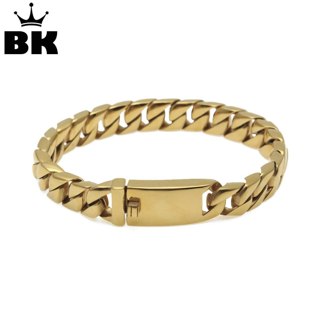 все цены на 13mm Stainless Steel Punk Miami Cuban Bracelet Gold Silver Black Color Curved Curb Link Chain Wholesale Mens Bracelet Jewelry онлайн