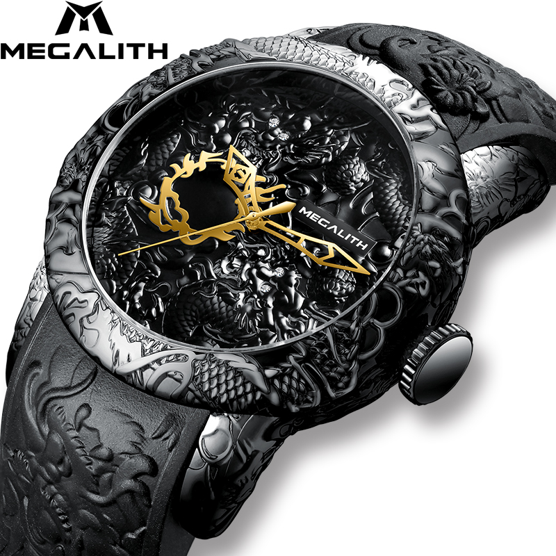 MEGALITH Fashion Gold Dragon Sculpture Watch Men Quartz Watch Waterproof Big Dial Sport Watches Men Watch Top Luxury Brand Clock executive car
