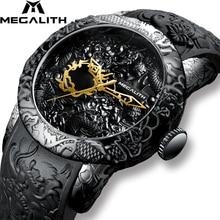 MEGALITH reloj deportivo para hombre, reloj masculino de cuarzo con escultura de DRAGÓN dorado, resistente al agua, esfera grande, marca de lujo