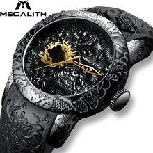 Megalithファッションゴールドドラゴン彫刻腕時計メンズクォーツ時計防水ビッグダイヤルスポーツメンズ腕時計トップの高級ブランド時計