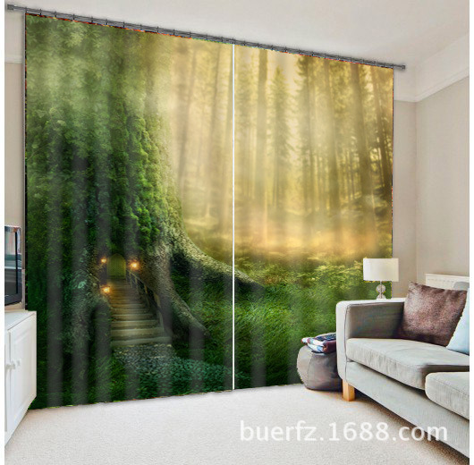 3D Photo Mysterious forest Printing Blackout Window Curtains For Living room Bedding room Hotel