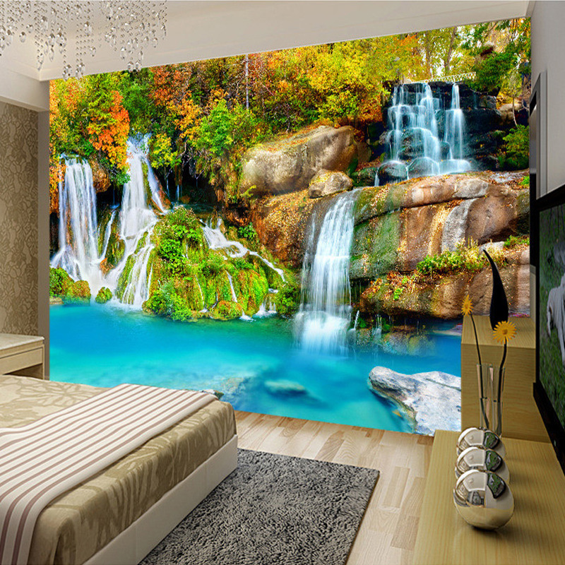 Nature Landscape Custom 3D Wall Mural Wallpaper Small Creek Waterfall Living Room TV Backdrop Photo Wallpaper For Bedroom Walls