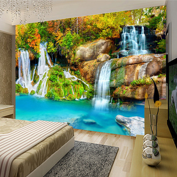 Nature Landscape Custom 3D Wall Mural Wallpaper Small Creek Waterfall Living Room TV Backdrop Photo Wallpaper For Bedroom Walls custom photo wallpaper 3d stereo dinosaur theme large murals primitive forest living room bedroom backdrop decor mural wallpaper