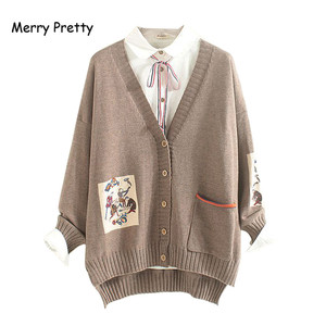 Image 1 - Frohe Ziemlich Mori Mädchen Pullover Frauen Kleidung Herbst Winter Voll Sleeved V ausschnitt Stickerei Vintage Weiblichen Lange Pullover Strickjacken