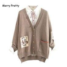 שמח די מורי ילדה סוודר נשים בגדי סתיו חורף מלא שרוולים V צוואר רקמת בציר נשי ארוך סוודר סוודרים