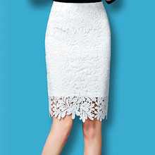 High Waisted Pencil Skirts Womens 2016 New Elegant Leaves Embroidery Solid Ladies Wrap Skirt Lace gonna tulle grey lace up design high waisted skirts