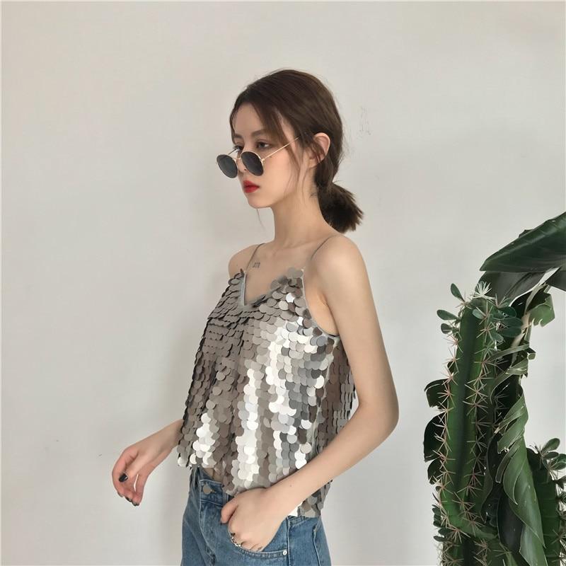 Summer women's crop top new fashion top women personalized glittering V-neck Women's vest tops casual wild short tank top
