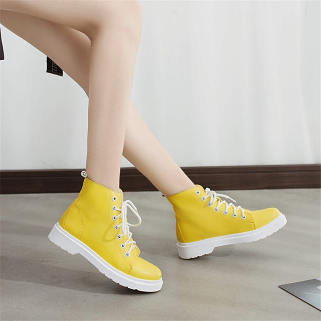 9d4be8aaa8 US $19.69 57% OFF|COOTELILI Botas Women Leather Motocycle Ankle Boots  Wedges Female Lace Up Platforms Autumn Casual Shoes Woman yellow boots 35  40-in ...