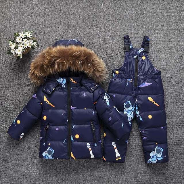 겨울 따뜻한 어린이 의류 세트 진짜 모피 아기 소녀 오리 snowsuit 키즈 스키 복 세트 겨울 소년 다운 재킷 + 바지