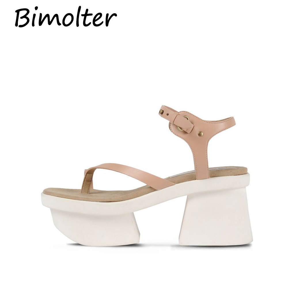 Bimolter NEW Rome Platform Womens Sandals 2019 Fashion Summer Leather Buckle Women Thick Soled Beach Casual Shoes NC088