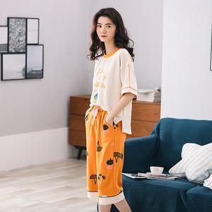 Image 5 - New Arrival Summer 100%Cotton Women Pajamas Set Cartoon Thin Print Pyjamas Women Short Sleeve Round Neck Big Size Pijama Mujer