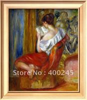 Hand painted+High quality girl oil painting Reading Woman by Renoir reproductions art on Canvas Bedroom wall Deco