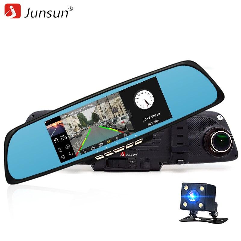 Junsun 6.86 Car Dash Cam ADAS Rear view mirror with DVR and Camera  Video recorder Registrar Dual Lens 1080P Dash Cam WIFI junsun wifi car dvr camera dash cam novatek 96655 for peugeot cyclic recording full hd 1080p video recorder registrar camcorder