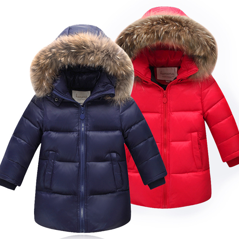 Winter Girls Down Coat Raccoon Fur Hooded Jacket Boys Duck down Jacket Thick Warm Children Coats
