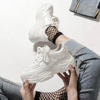 TODOS YIXIE 2019 Nuevo Verano de malla blanca Zapatillas de deporte de mujer Zapatillas de deporte de plataforma gruesa de fondo grueso Zapatos casuales Zapatos de mujer 1