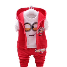 New Minions Clothing Set 3 Pieces Baby Jacket+Pullover+Pants Cartoon Despicable Me Baby Boys Girls Coat Pants