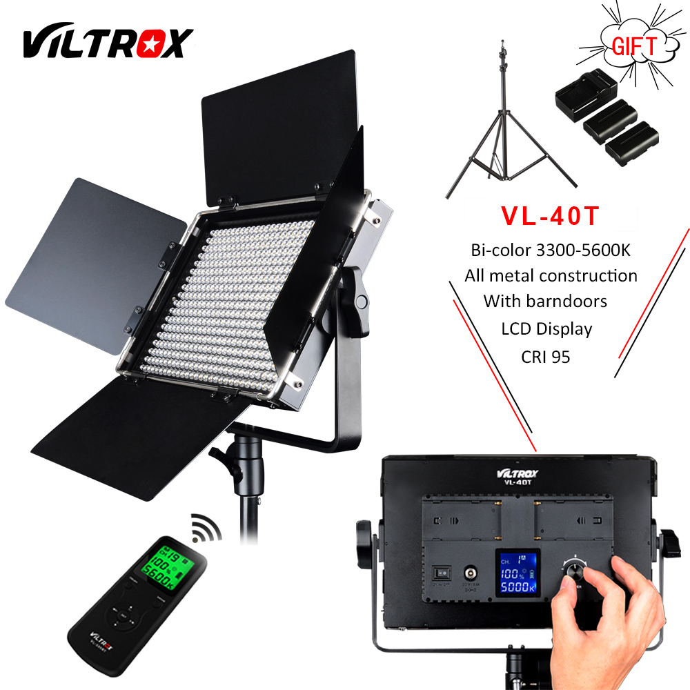 Viltrox VL-40T Camera LED Studio Video Bi-color 3200K-5600K Slim Dimmable Light Lamp for Camcorder Facebook YouTube show Live viltrox vl 200 pro wireless remote led video studio light lamp slim bi color dimmable ac power adapter for camcorder camera