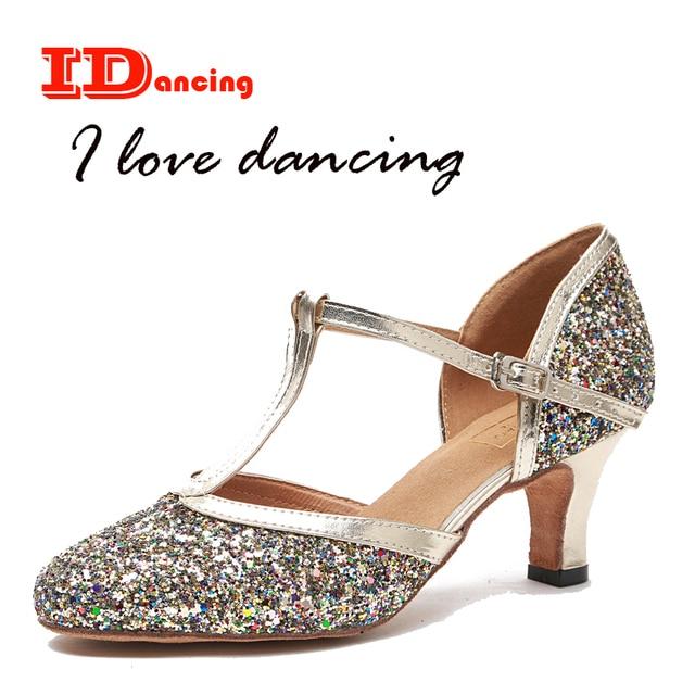 IDancing 2018 new latin dance shoes zapatos de mujer women pumps party shoes  T-bar low heel plus size 674e92196ce2