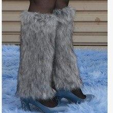 Faux Fur Flat Cuffs Boot socks Knee High Winter Boot Socks Christmas Leg Warmers Ankle