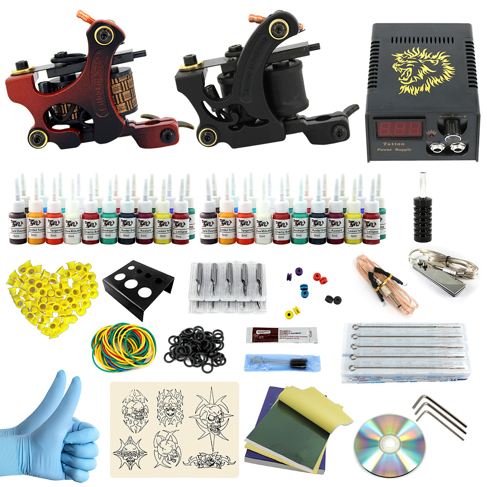 ITATOO Complete Tattoo Kit 2 Pro Machines 40 Color Inks Power Supply 20 Needles for Beginners PX110016 complete tattoo kit 2 machines gun for starter power supply needles