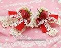 Princesa dulce lolita Fresa horquilla del arco del cordón del punto de poka hecho a mano cosplay Lolita cos horquilla accesorios para el cabello hermoso