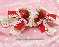 Princess sweet lolita hairpin Strawberry lace bow poka dot handmade cosplay Lolita hair accessories lovely cos hairpin