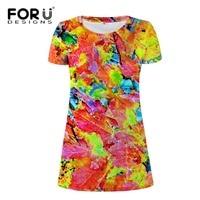FORUDESIGNS Plus Size Summer Casual Dress Graffiti Print Mixed Color Women Long Shirt Dress Women Personalized