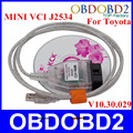 5 Шт./лот V10.30.029 MINI VCI Интерфейс Для Toyota TIS TECHSTREAM OBD2 Диагностический Кабель MINI VCI J2534 OBD2 FT232RL Чип Сканер