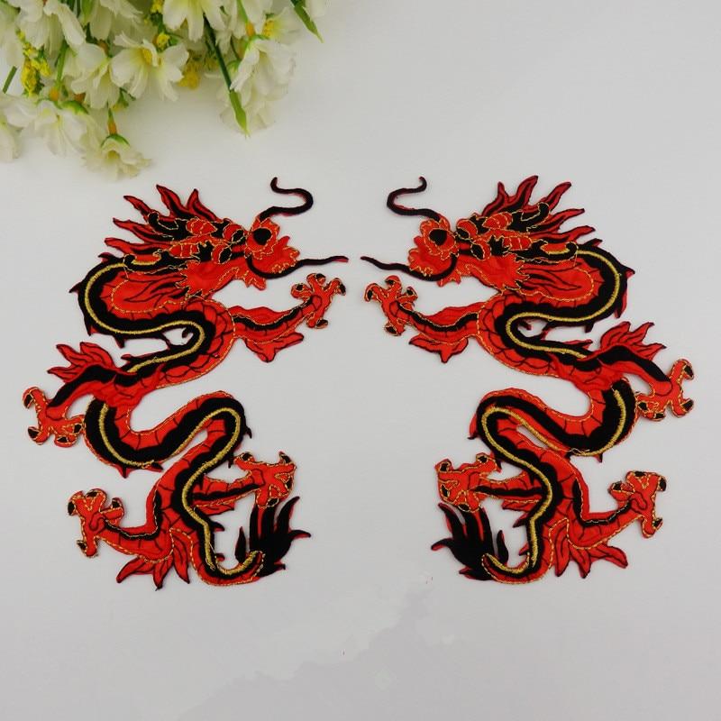 1 paar chinese draak geborduurde patches dier naaien of opstrijkbare patches applique voor kleding kleding jurk tassen diy accessoire